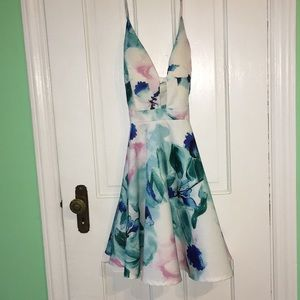 pink, aqua and blue flower dress with cutout